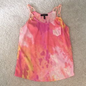 Jessica Simpson pink tie dyed tank top